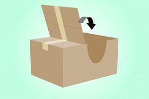Согните крышку коробки назад