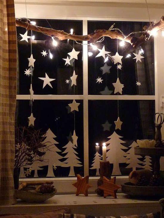 Украшение на окна на новый год